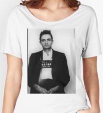 Johnny Cash Mug Shot Vertical Women's Relaxed Fit T-Shirt