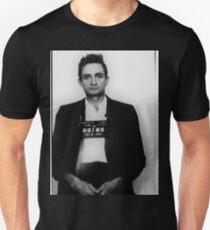 Johnny-Bargeld-Becher schoss Vertikale Slim Fit T-Shirt