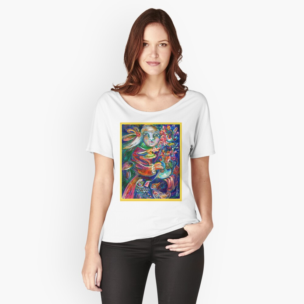 Orphan Child with Flowers Women's Relaxed Fit T-Shirt Front