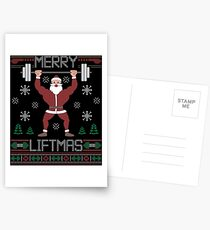Merry Liftmas T-Shirt  Ugly Christmas Sweater Workout Shirt Postcards