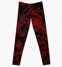 Deep Red On Black Decorative Abstract Ornament Leggings