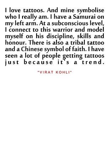 I Love Tattoosvirat Kohli Inspirational Quote Posters By