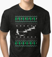 Surfing Christmas ugly Tri-blend T-Shirt