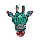 Psychedelic Giraffe - red variant by njhallart