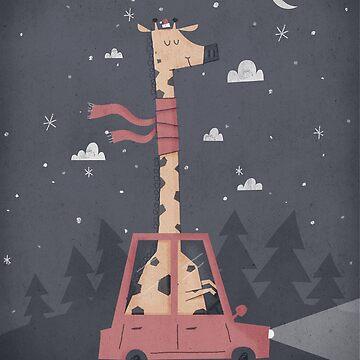 Giraffing Home for Christmas by boneydesign