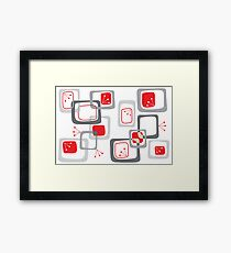 Retro Red Cherry Squares Framed Print