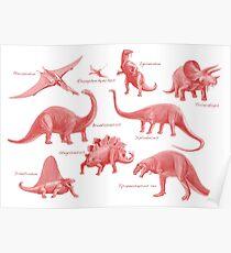 Dinosaur Montage Pink2 Poster