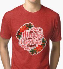 Merry Christmas Design V1 By Funkyou Tri-blend T-Shirt