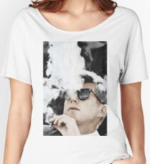 John F Kennedy Cigar And Sunglasses Women's Relaxed Fit T-Shirt