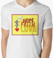 HOPE FAITH and LOVE : Christian Religious Print T-Shirt