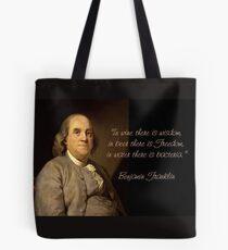 Ben Franklin Wit Tote Bag