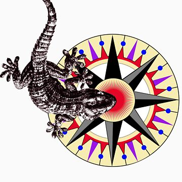 Gecko Lizard on Compass Rose by Zehda