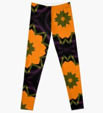 Orange Ribbon Flowers Leggings