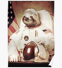 Astronaut Sloth Poster