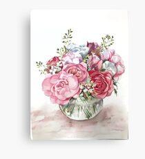Watercolor flower bouquet  Canvas Print