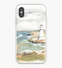 Maritime Lighthouse Seascape Watercolor iPhone Case