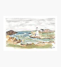 Maritime Lighthouse Seascape Watercolor Photographic Print