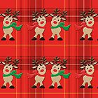 Cheery Embroidered Christmas Reindeers by Patjila by patjila