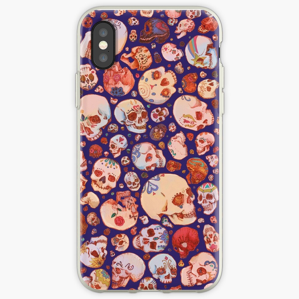 Skull Doodles - blue iPhone Case & Cover