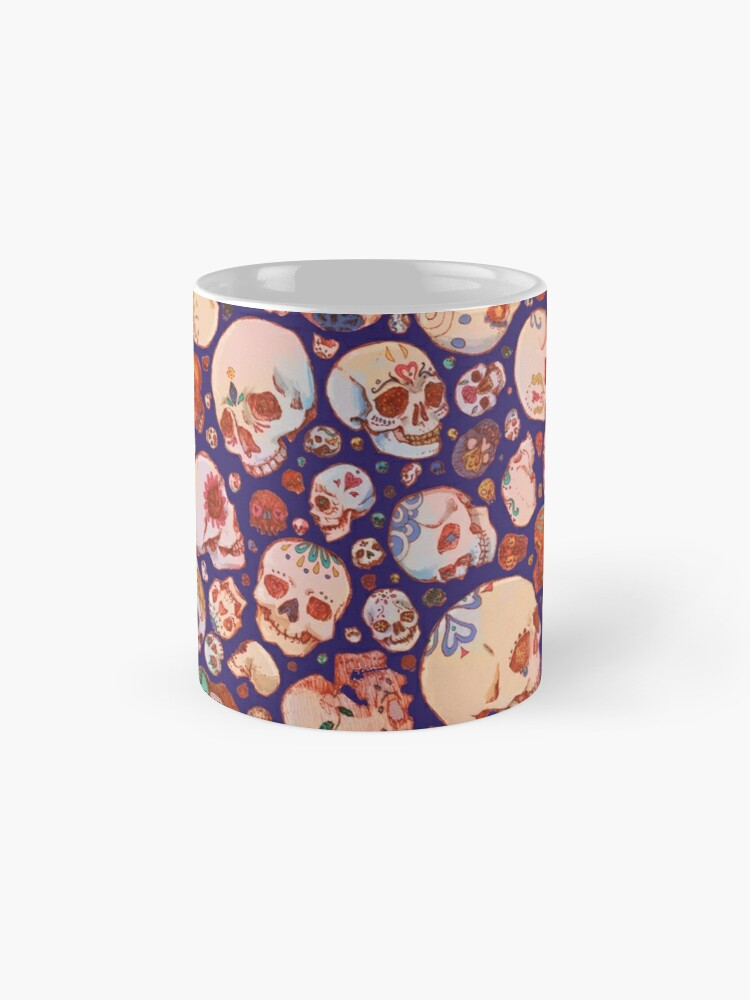 Alternate view of Skull Doodles - blue Mug