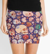 Skull Doodles - blue Mini Skirt