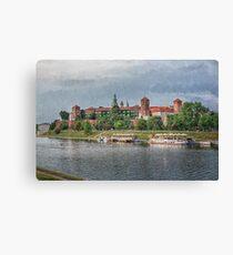 Drawing, illustration old town, Wawel Castle and Vistula river, Krakow, Poland Canvas Print