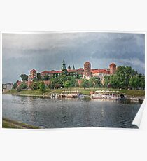 Drawing, illustration old town, Wawel Castle and Vistula river, Krakow, Poland Poster