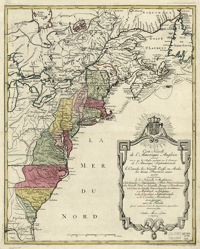 1776 - Colonial America Map by Matthaus Lotter