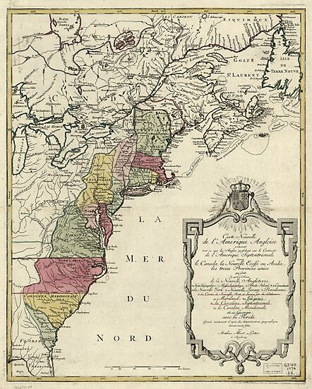 Colonial America Map By Matthaus Lotter 1776 Photographic Prints