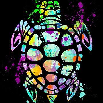 Turtle Watercolor Splatter Love Sea Turtles T-Shirt by joannejgg