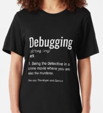 Debugging Definition T-shirt Programmers' Coding Gift Tee Slim Fit T-Shirt