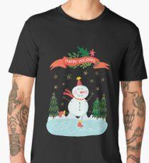 Cute Fun Snowman Merry Christmas  Men's Premium T-Shirt