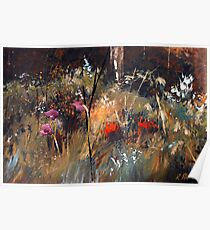 Blue Grass And Wild Flowers Poster