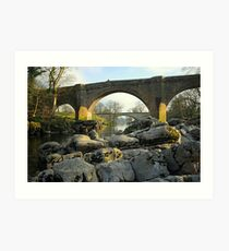 Bridges over River Lune. Art Print
