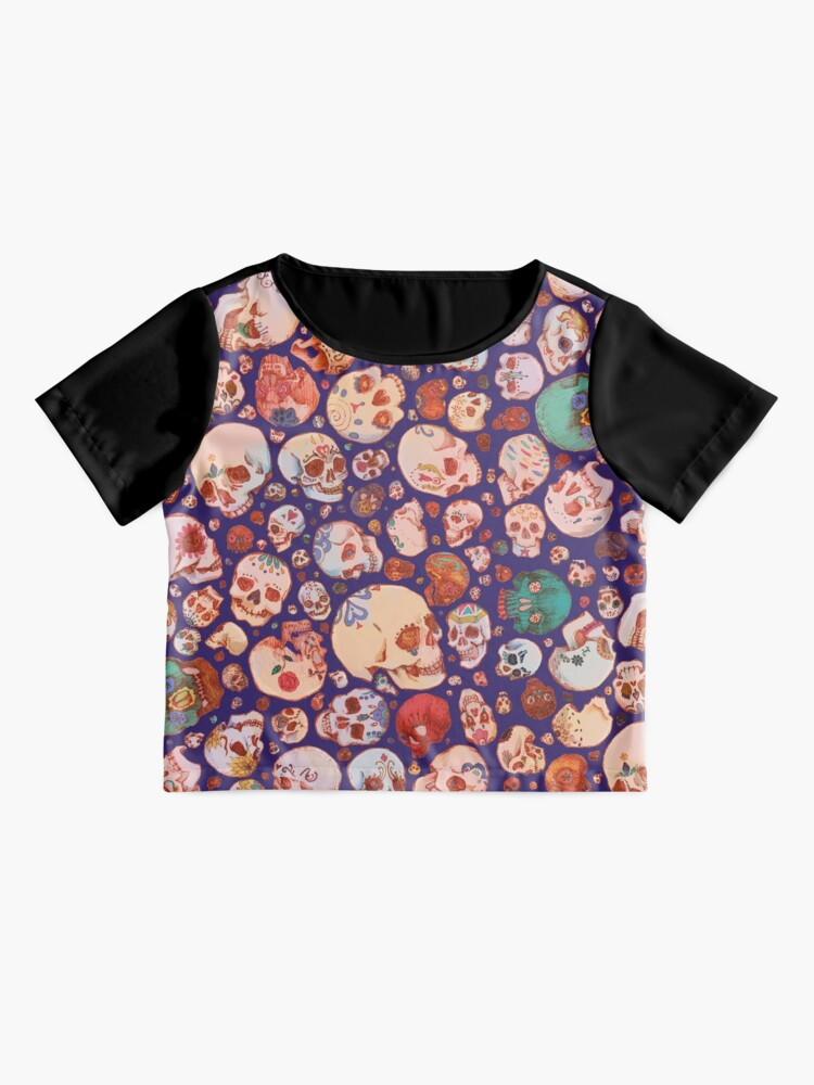 Alternate view of Skull Doodles - blue Chiffon Top