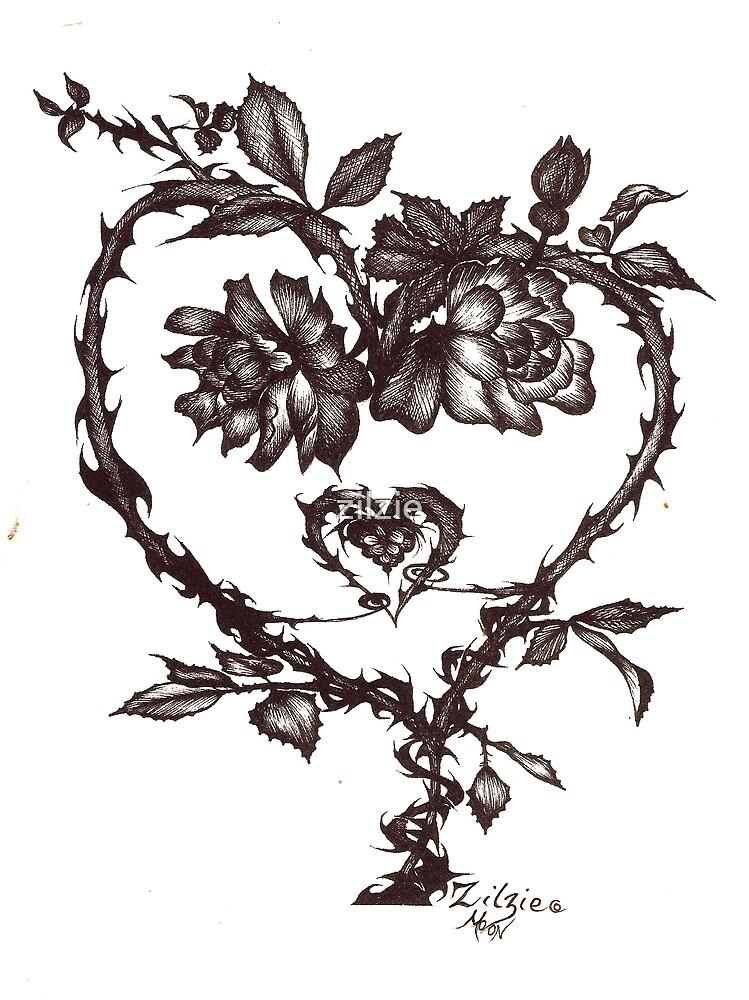 heart rose by zilzie