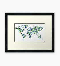 World Map Watercolor Painting Framed Print