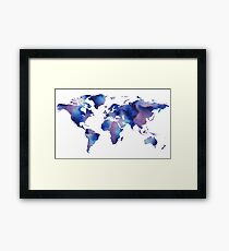 Blue Watercolor Map Of The World  Framed Print