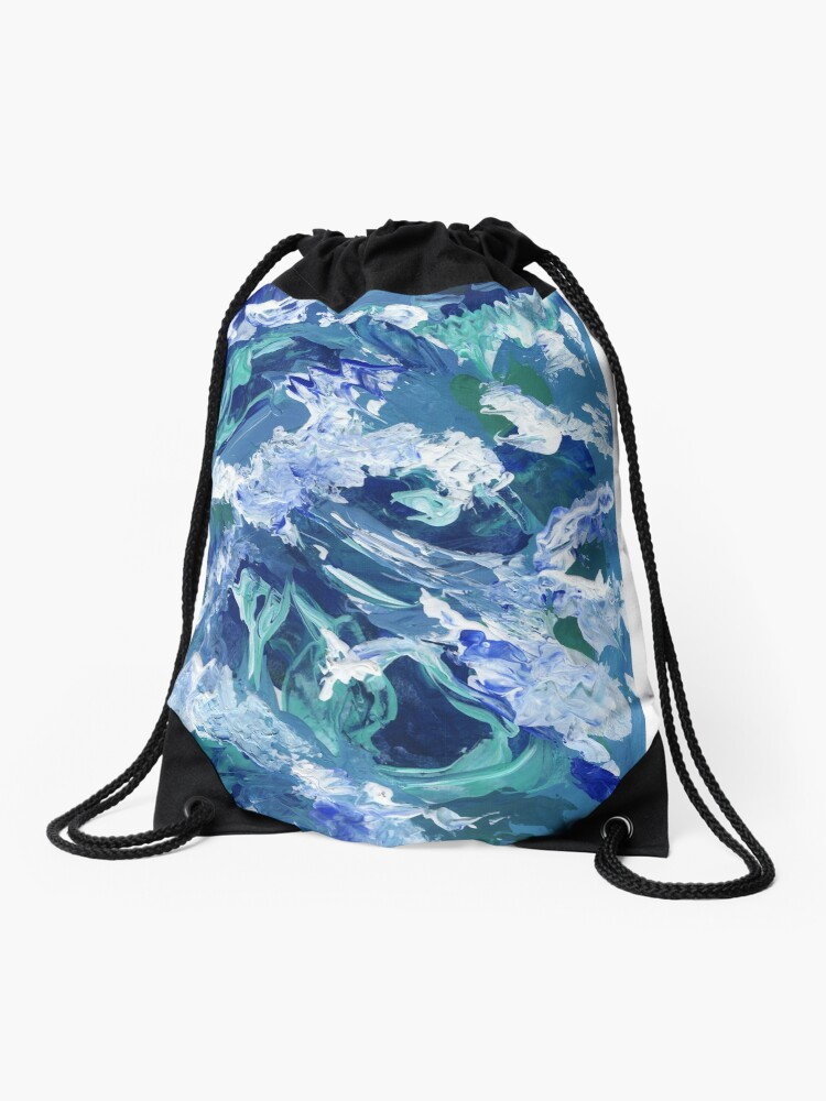 Abstract Waves Acrylic Blue Painting Abstract Waves Acrylic Painting Blue Canvas Drawstring Bag