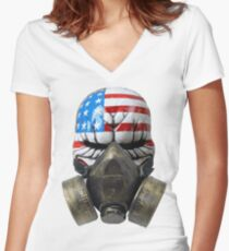Gas Mask Clown Women's Fitted V-Neck T-Shirt