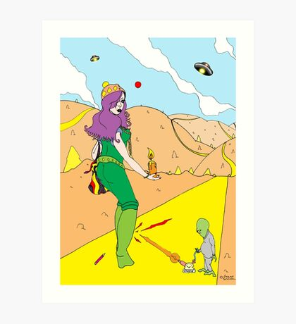 Desert Saucers  [Pen Drawn Fantasy Figure Illustration] Art Print