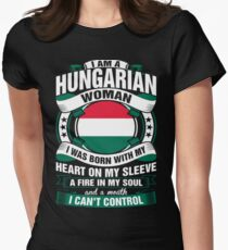 I Am A Hungarian Woman Heart Sleeve Fire In Soul Women's Fitted T-Shirt