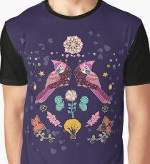 Whimsical Nightingales Graphic T-Shirt
