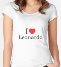 I Love Leonardo - With Simple Love Heart Women's Fitted Scoop T-Shirt