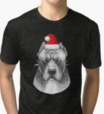 Santa Pitbull  Tri-blend T-Shirt