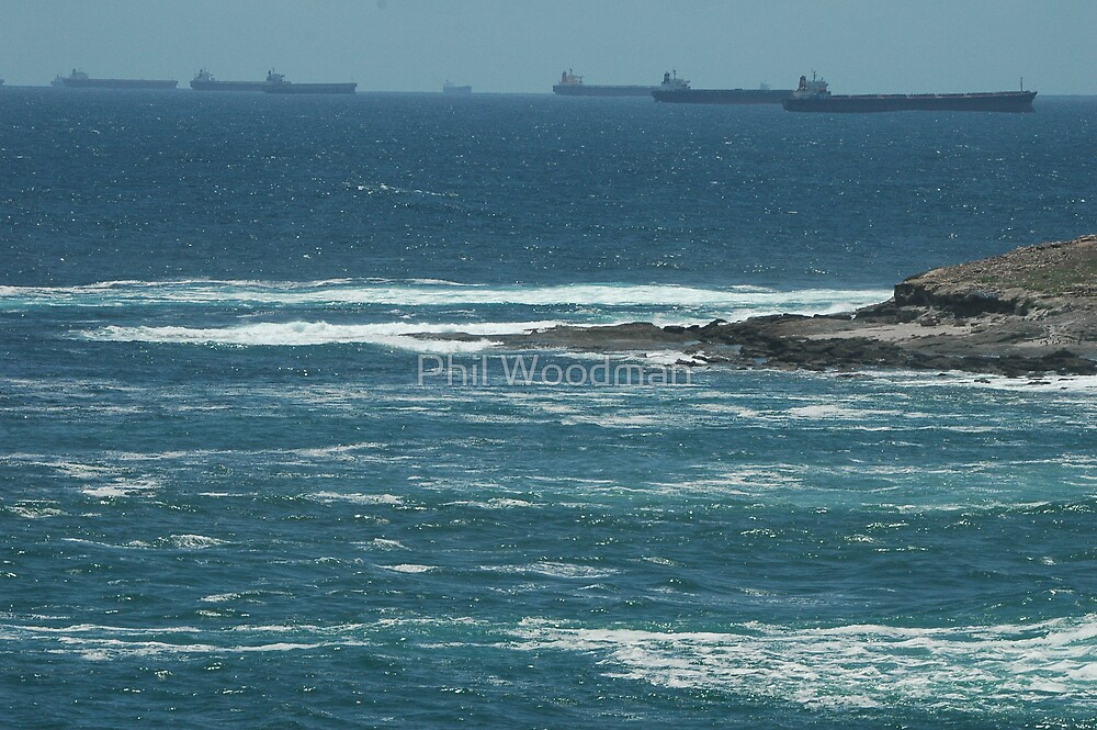 Coal Ships Off Swansea Heads, NSW, Australia. by Phil Woodman