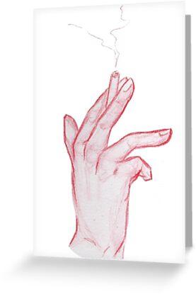Tarjetas De Felicitación Lápiz Rojo Dibujo A Mano N2 Humo De Twins