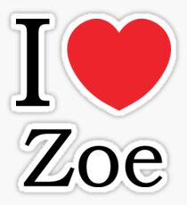 I Love Zoe - With Simple Love Heart Sticker