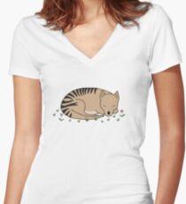 Thylacine Sleeping Women's Fitted V-Neck T-Shirt