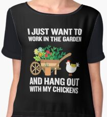Funny Work In Garden Be With Chickens Colorful Floral Chiffon Top